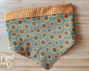Boho Green Sunflowers | Fall Dog Bandana w/ Personalization | Reversible Dog Bandana | Add matching scrunchie bow, hair tie or skinny scarf