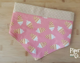 Cute Pink Ice Cream Cones Bandana with Personalization | Reversible Dog Bandana | Add scrunchie bow or hair tie