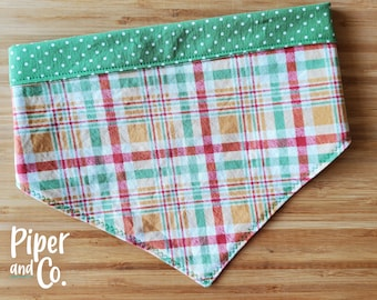 Cute Fall Plaid | Fall Dog Bandana with Personalization | Reversible Dog Bandana | Add matching scrunchie bow, hair tie or skinny scarf