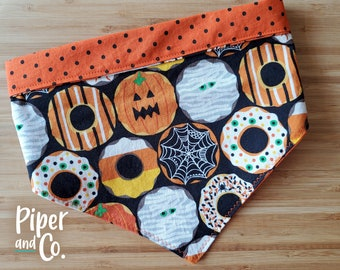 Halloween Donuts | Fall Reversible Dog Bandana w/ Personalization | Add matching scrunchie bow, hair tie or skinny scarf