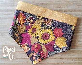 Rich Sunflowers | Fall Dog Bandana with Personalization | Reversible Dog Bandana | Add matching scrunchie bow, hair tie or skinny scarf