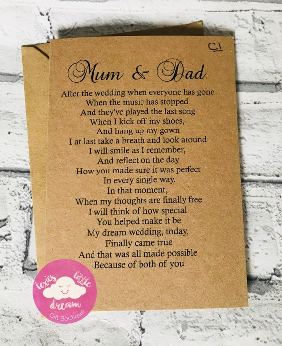 Mum Father of the Bride Gift Mother of the Bride Gift Mom Wedding Card to Parents To My Parents On My Wedding Day Card To My Dad Card