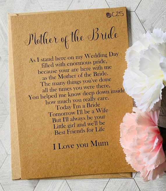 Mother Card Wedding Card For Mother Mother Wedding Card To My Mother Card Mother Of The Bride Card. To My Mother On My Wedding Day Card