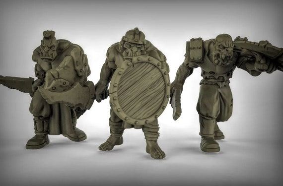 Orcs with Swords and Shields Resin Miniatures for D/&D Dungeons and Dragons or Tabletop Gaming