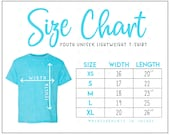 990B Size Chart (2 versions included with without branding) Youth Lightweight T-Shirt Size Chart 990B Size Chart