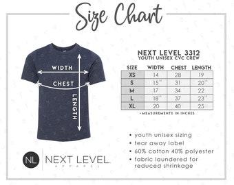 Next Level 6200 Poly Cotton Crew Size Chart Next Level Size Guide