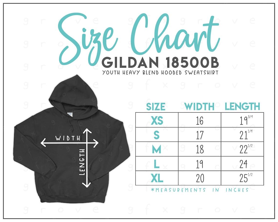 Gildan 18500B Size Chart  Gildan Youth Hooded Sweatshirt Size image 0