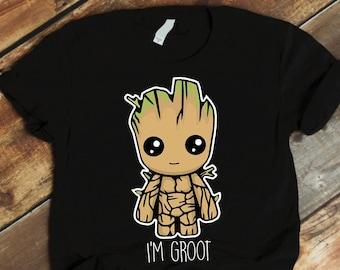 NEW womens shirt Marvel Guardians Of The Galaxy /'I Am Groot/' Girlie T shirt