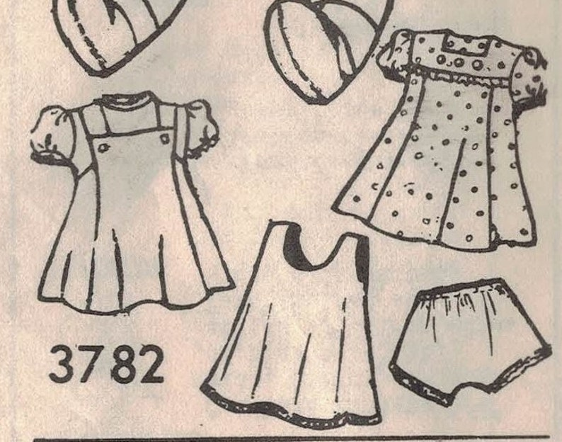 Dress Mail Order 3782-20 Doll and Doll Wardrobe Doll UNPRINTED Complete Jumper Blouse 1948 Cape Pantie and Shoes Slip Beanie