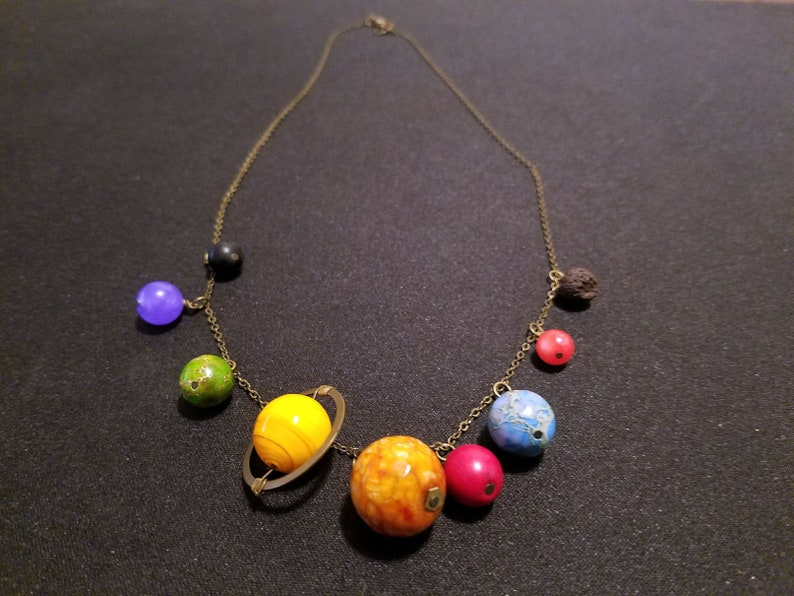 Solar system necklace single strand image 0