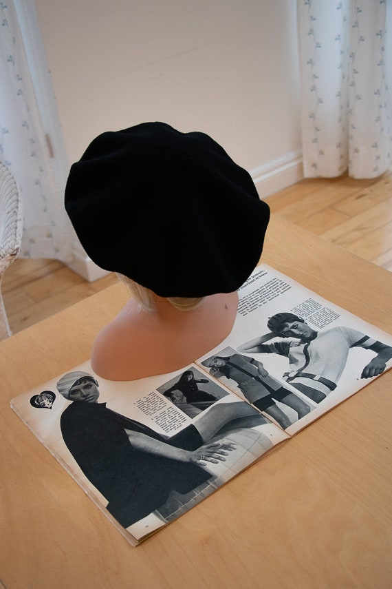 French style vintage black beret/wool/classic Fren