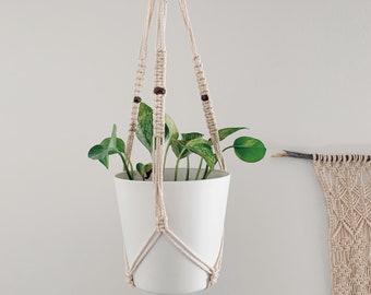 Macrame Plant Hanger, Indian Agate beads, Plant Gift, Organic 100% Cotton Macrame Cord