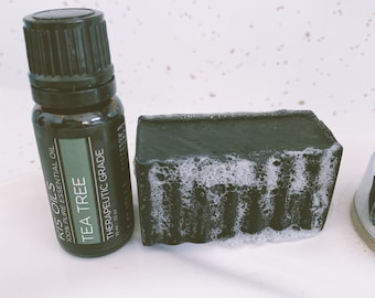 Activated Charcoal Face Bar, Tea Tree Bar, Acne Soap, Handmade Soap Bar