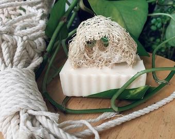 Natural Loofah Sponge Soap, Exfoliating Soap, Oatmeal Milk and Honey Scented