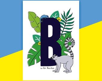 Jungle Nursery Print, Personalised Print, Animal Print, Alphabet Print