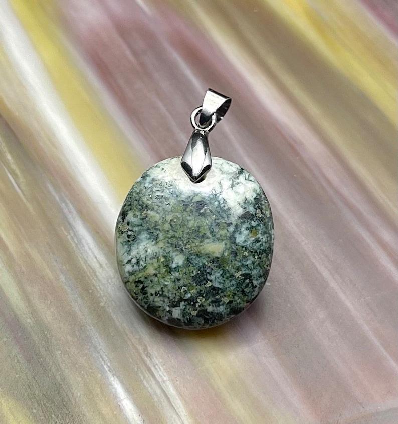 Rare Preseli Bluestone Stonehenge Round Pendant Necklace Crystal Attunement Crown Base Third Eye Chakra Stone
