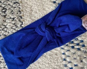 BLUE knot band - Turban headband - Wide headband - Yoga headband - Training headband