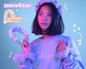 Collection Jade Lachine X Mom Hippie Brand Scrunchie and pass pleated pastel purple pastel