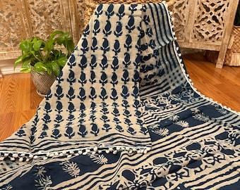 BAGRU Bagru Hand Block prints using Eco- Natural dyes mulmul Cotton sari Trendy Summer comfort saris Closeouts Free ship block prints