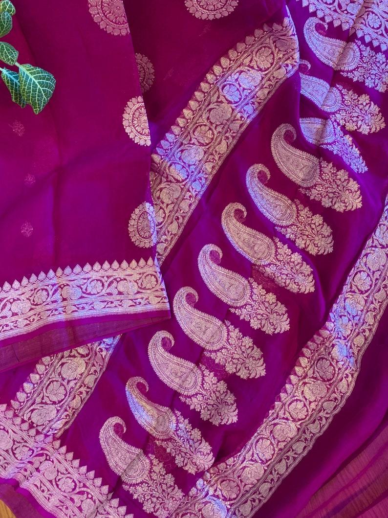 PurpleMagenta Pure Silk Chiffon Banarasi Saree With Silver Zari Aalna Chiffon Benarasi Sari SILK MARK CERTIFIED