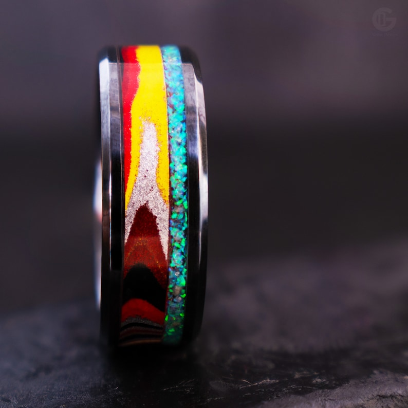 Fire Arrow Exciting and Unpredictable Fordite and Crushed Glacier Opal 8mm Black Ceramic Core Made to Order USszs 4-12.5 Ring