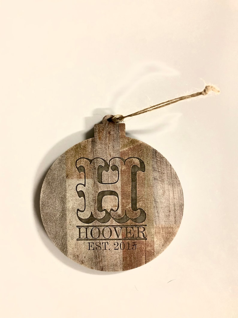 Wood Christmas Tree Ornament with initial and last name with image 0