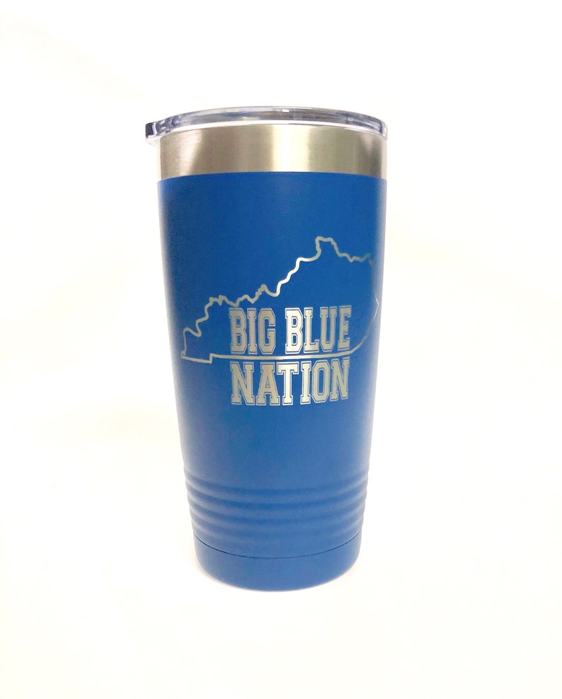 Big Blue Nation Laser Engraved Cup Black Polar Camel 20 oz Royal Blue