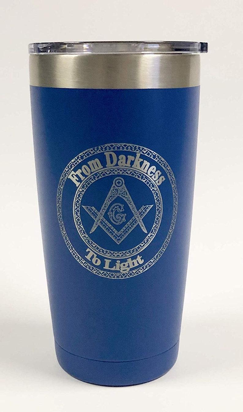 Masonic Free Mason   Stainless Steel mug fun tumbler laser Blue