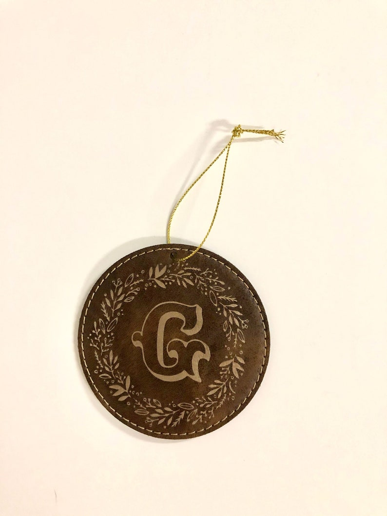Brown Leather Christmas Ornaments with gold initial design image 0