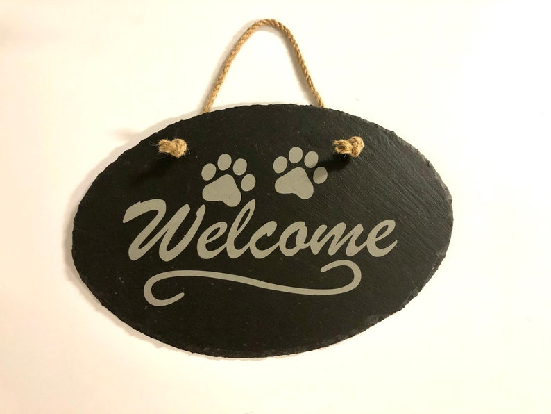 Welcome Slate Display Hanger 11 3/4 X 8 Customized/Personalize image 0