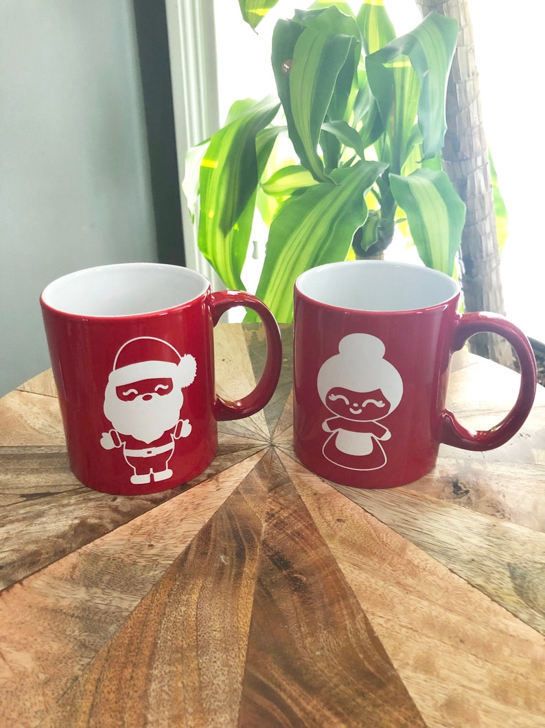 Ceramic Coffee cup Tea Cup laser engraved Santa and Mrs. image 0