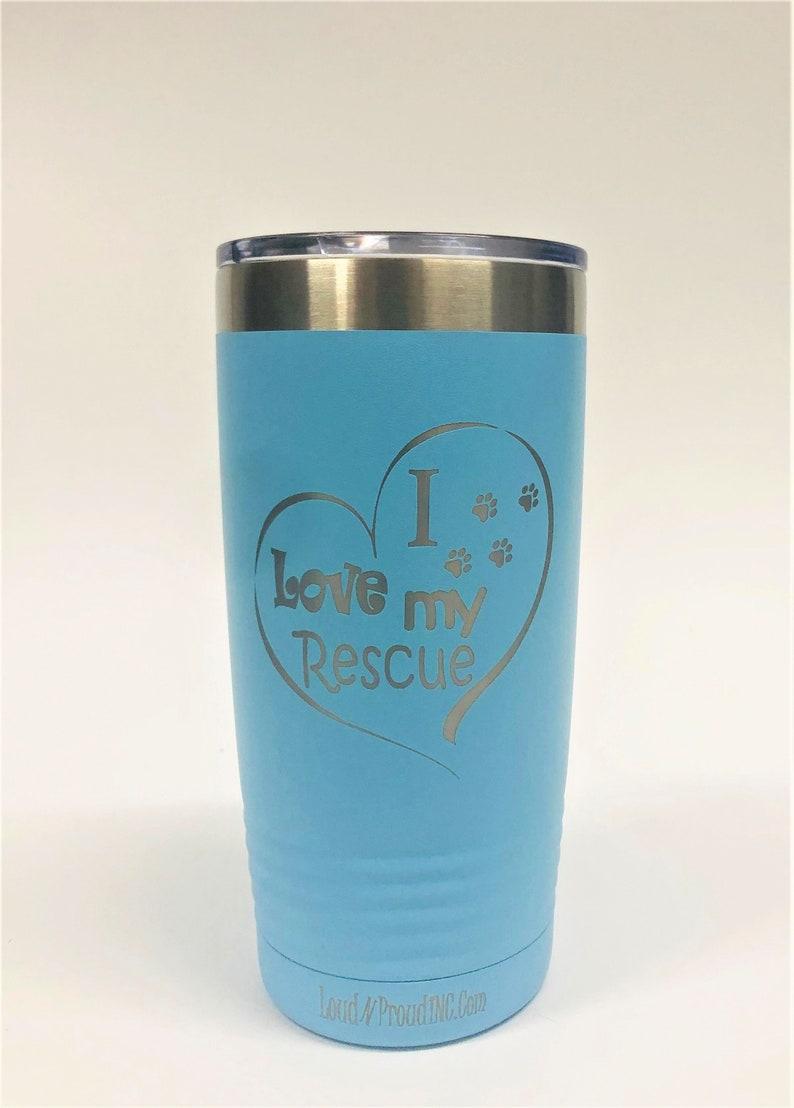 Rescue MomStainless Steel mug fun tumbler laser Engraved Cup Light Blue