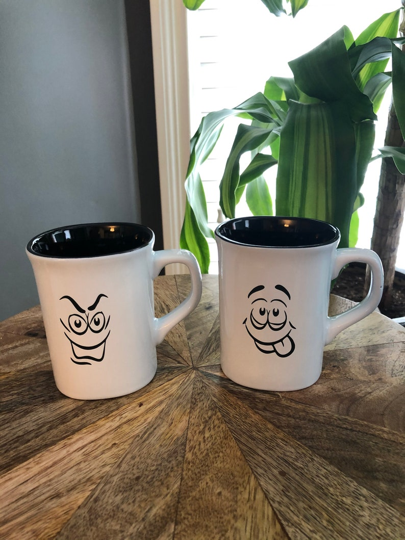 Set of 2 two  10oz Ceramic Coffee/Tea Cups laser engraved image 0