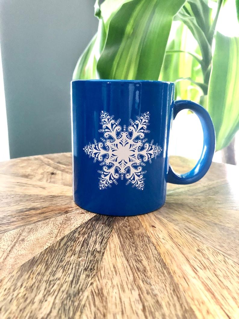Ceramic Coffee cup Tea Cup laser engraved Snowflake design image 0