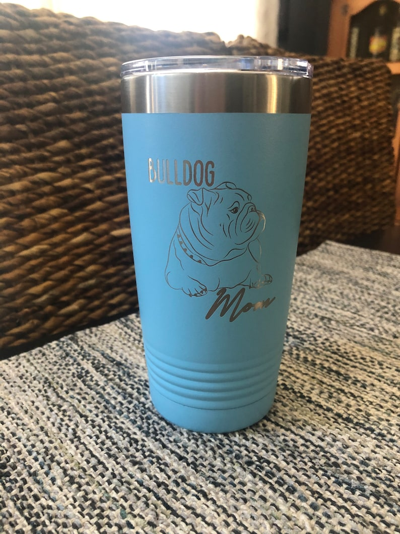 Bulldog MomStainless Steel mug fun tumbler laser Engraved image 0