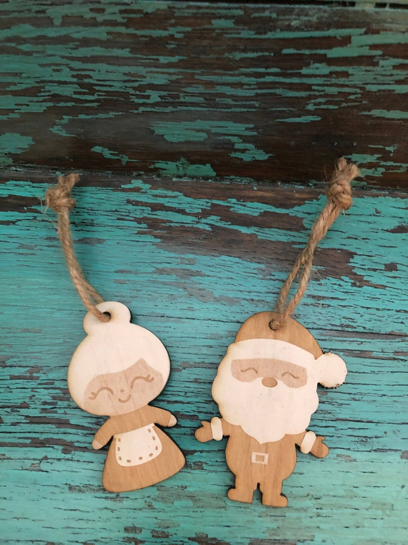 Wooden Christmas Tree Ornaments Santa and Mrs. Claus His and image 0