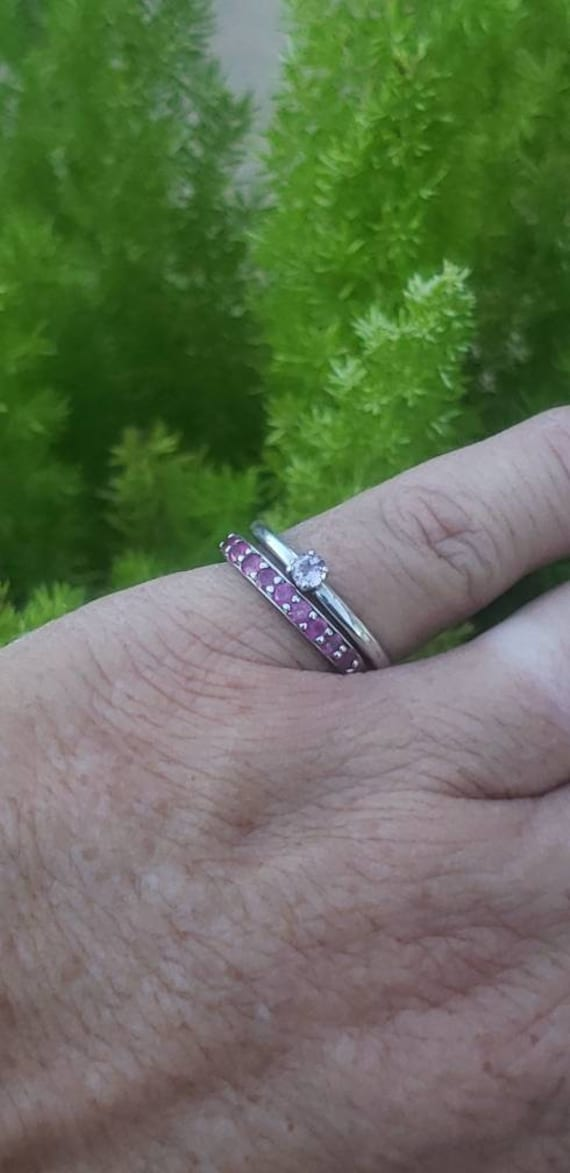 Sterling Silver Ruby Anniversary Band / Ruby Ster… - image 6