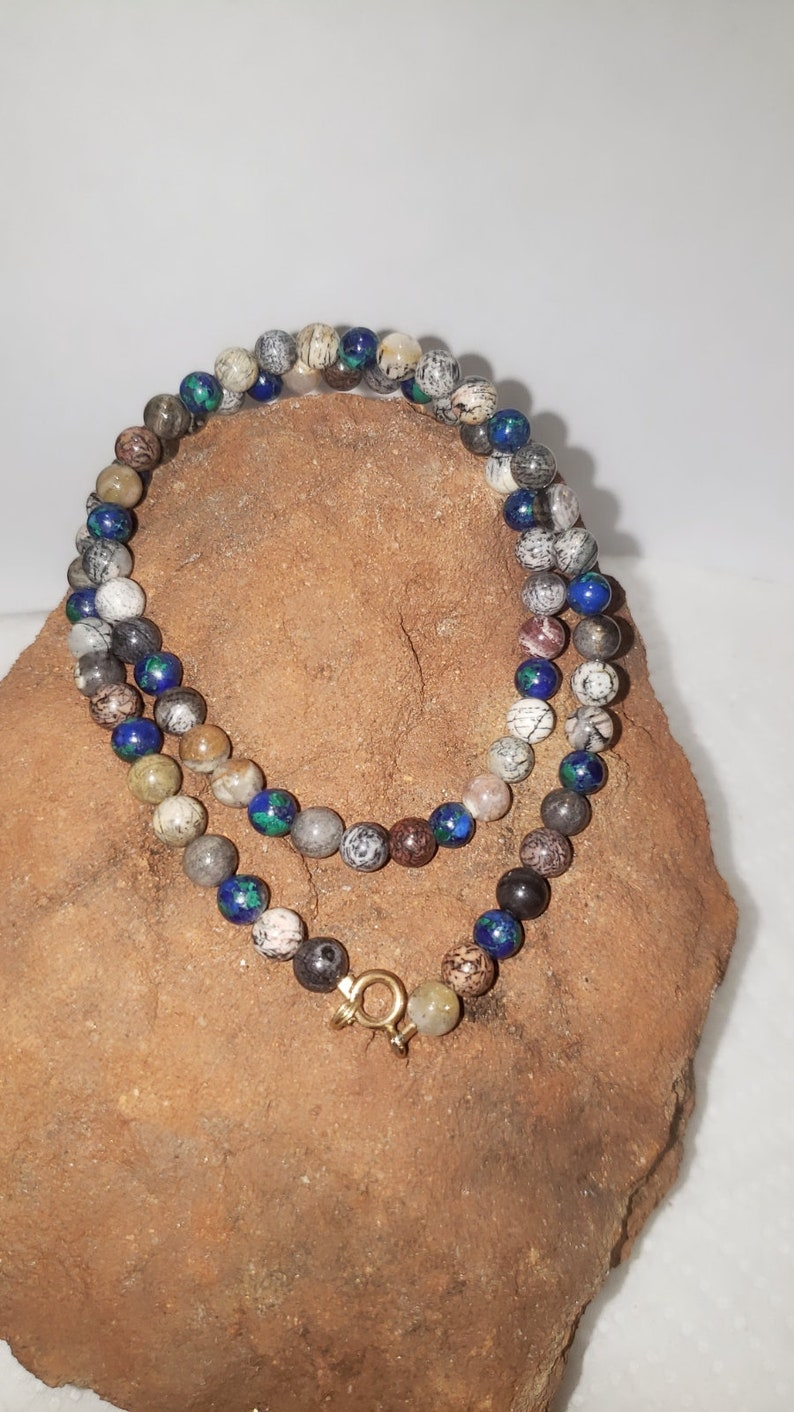 Multi Bead  Necklace  14k Gold Fill  Agate Beads