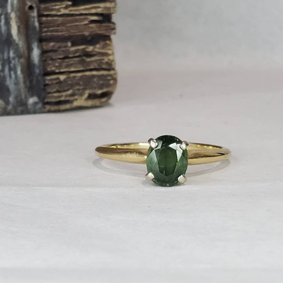 Green Sapphire Solitaire 14K Gold Ring / Engageme… - image 1