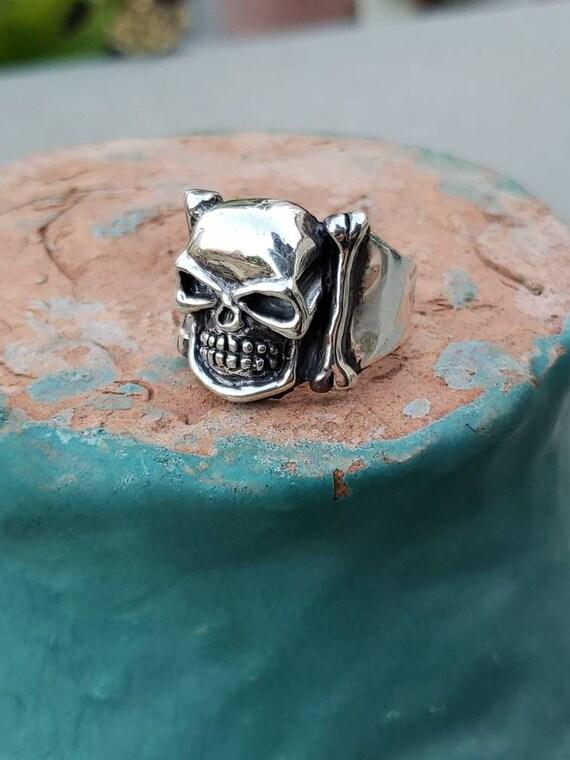 Sterling Silver Skull with Bones Ring / Skull Ring