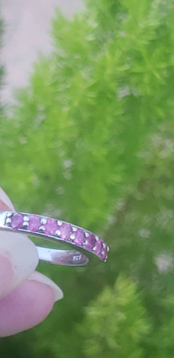 Sterling Silver Ruby Anniversary Band / Ruby Ster… - image 4
