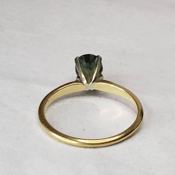 Green Sapphire Solitaire 14K Gold Ring / Engageme… - image 5