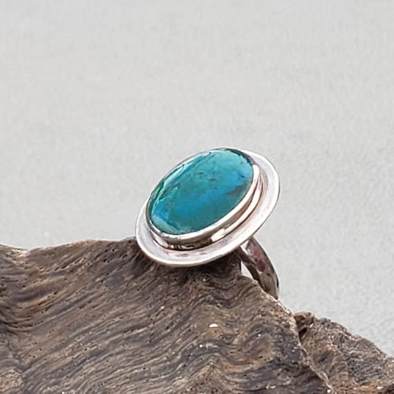 Oval Turquoise and Silver Statement Ring Summer Blue Double Teardrop Center