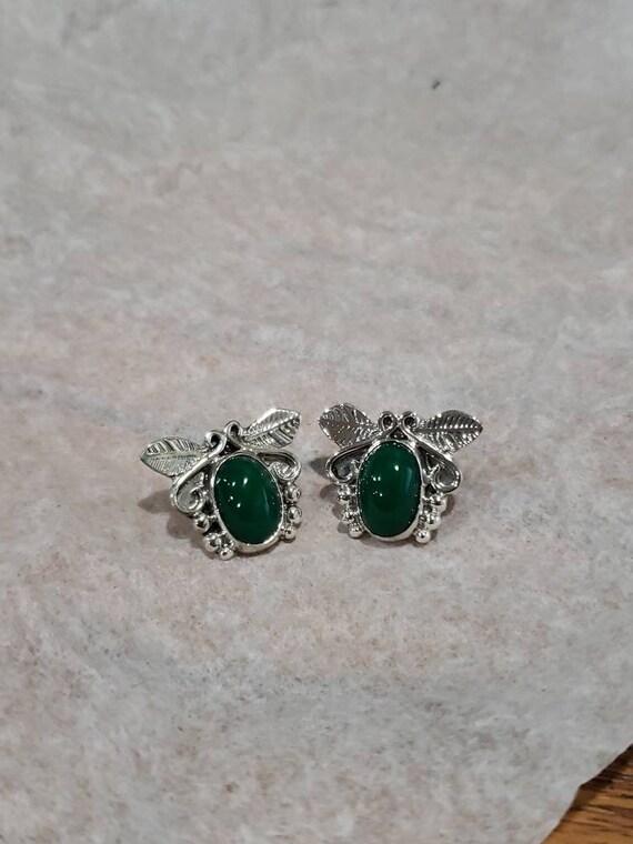 Green Stone Sterling Silver Southwestern Earrings