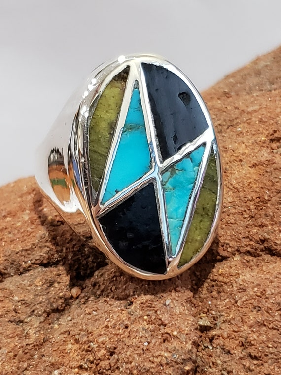 Sterling Silver Turquoise Inlay Ring / 925 Turquoi