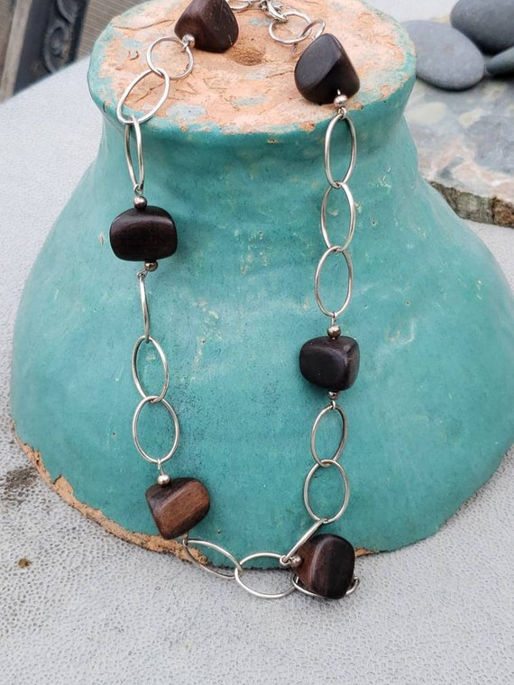 Wood / Sterling Silver / Chain / Bead / Necklace