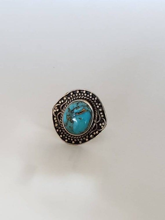 Turquoise Sterling Silver Ring / Sterling Silver T