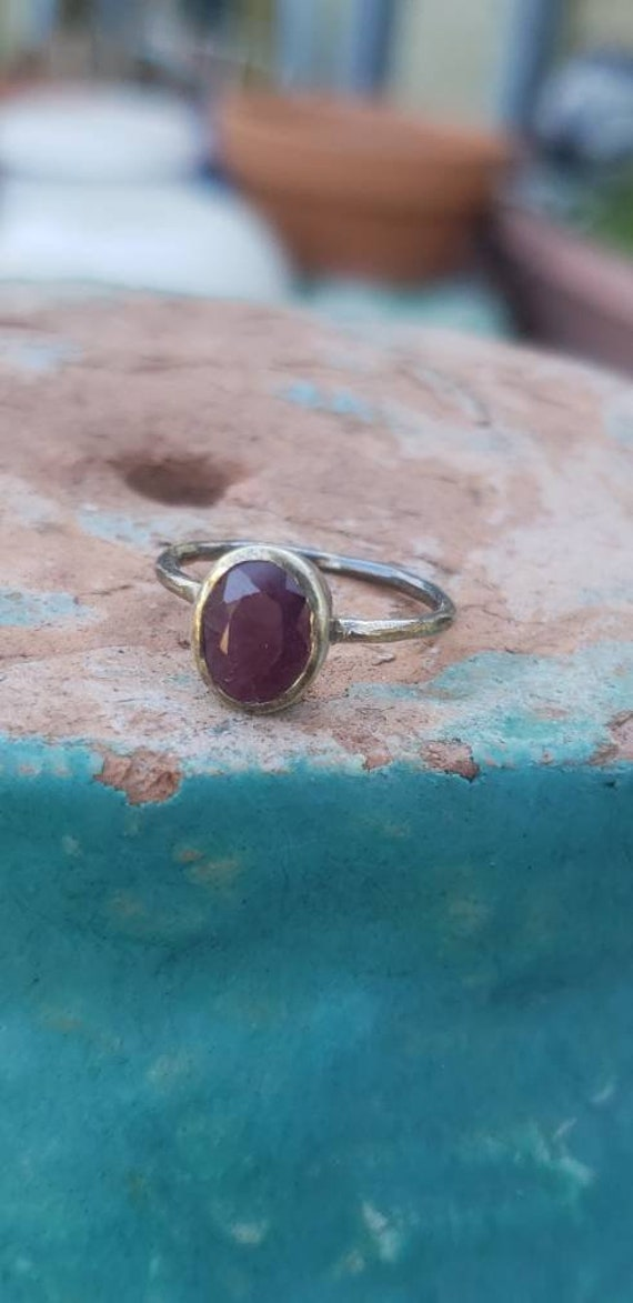 Sterling Silver Ruby Cabochon Ring / Bezel Set Ru… - image 1