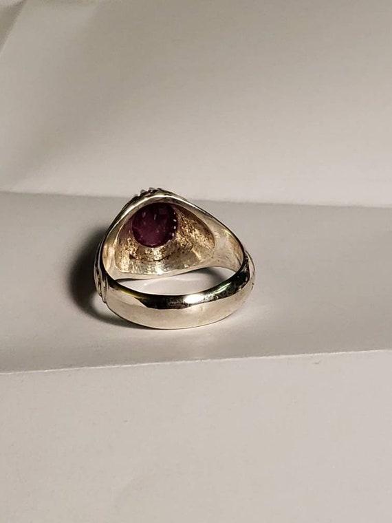 Vintage Sterling Silver Ruby Ring / Estate Ruby M… - image 6