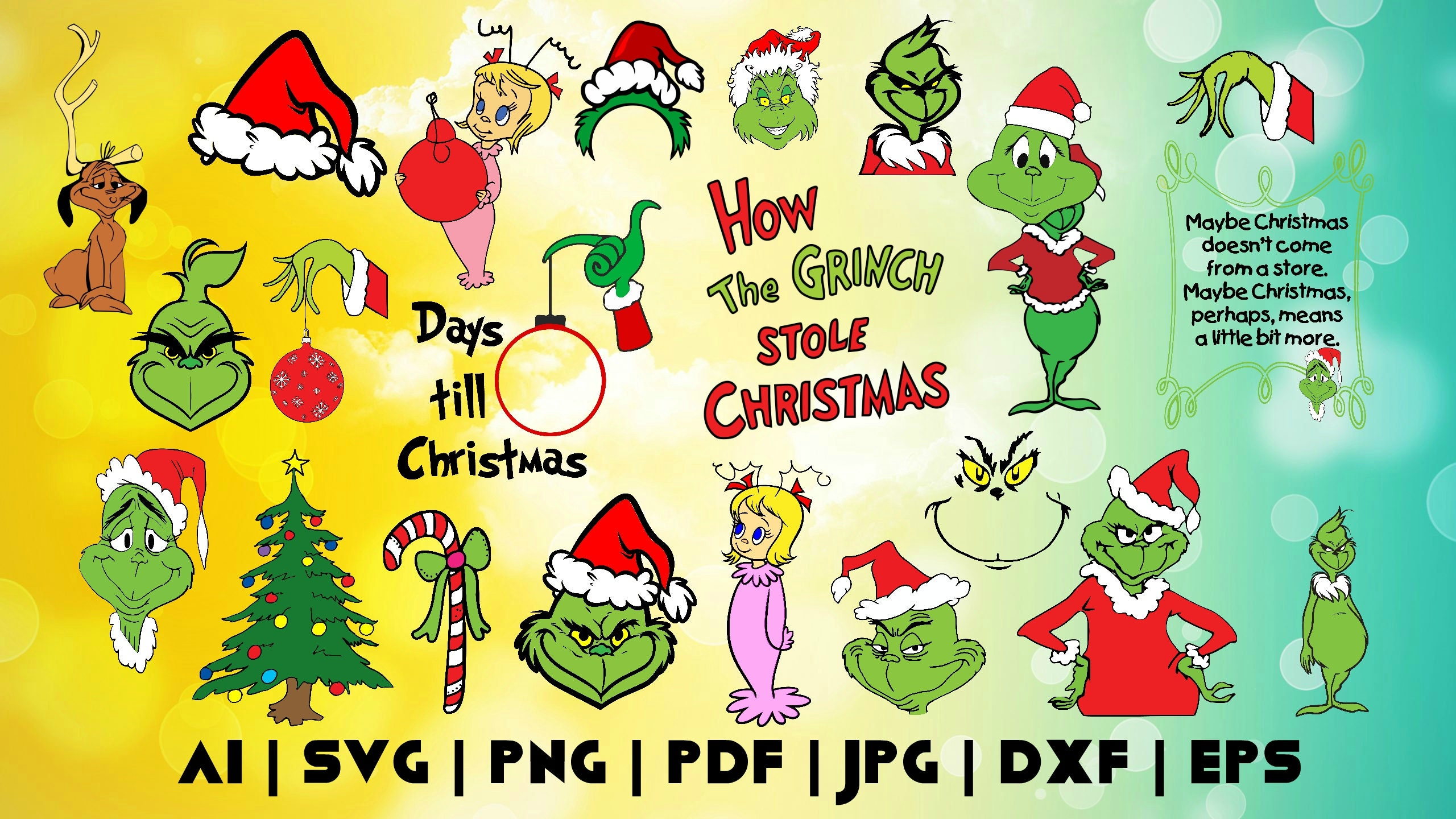 Christmas Grinch Svg.24 Grinch Svg Clipart How Grinch Stole Christmas Cricut Digital Print Instant Download